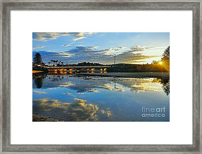 Bridge Over Lake At Sunset Narrabeen Lakes Sydney Framed Print by Kaye Menner