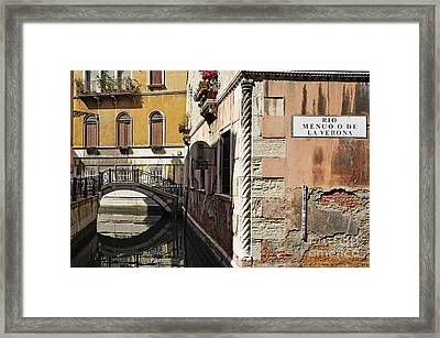 Bridge Over Narrow Canal Framed Print by Sami Sarkis