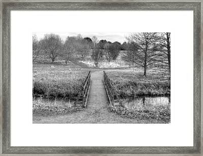 Bridge Over River In An English Countryside Scene On A Stormy Da Framed Print