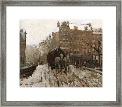 Bridge Over Singel Canal By The Paleisstraat Framed Print