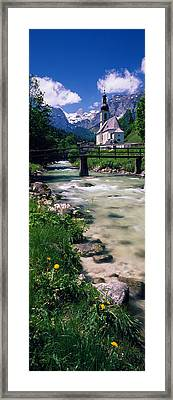 Bridge Over Stream Below Country Framed Print by Panoramic Images