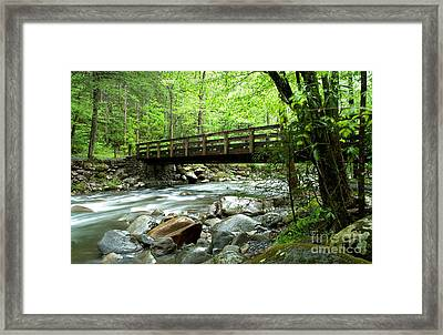 Bridge Over The Little Pigeon River Framed Print by Glenn Morimoto