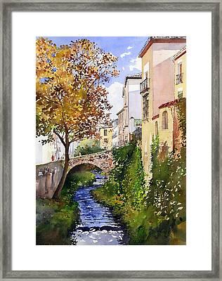 Bridge Over The Rio Darro Framed Print by Margaret Merry