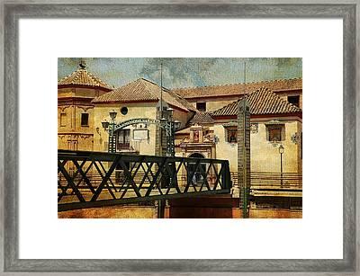 Bridge Over The River Guadalmedina In Malaga I. Spain Framed Print by Jenny Rainbow
