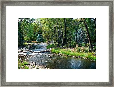 Bridge Over The Roaring Fork River In Colorado Framed Print by Julie Magers Soulen