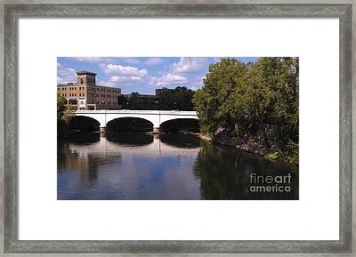 Bridge Over The St. Joseph River  --  South Bend Framed Print by Anna Lisa Yoder