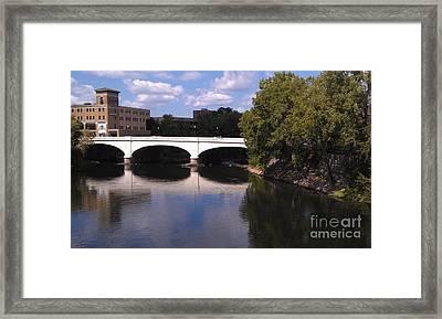 Bridge Over The St. Joseph River  --  South Bend Framed Print by Anna Lisa Yoder