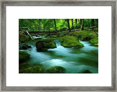 Bridge Over The Tananamawas Framed Print by Jeff Swan