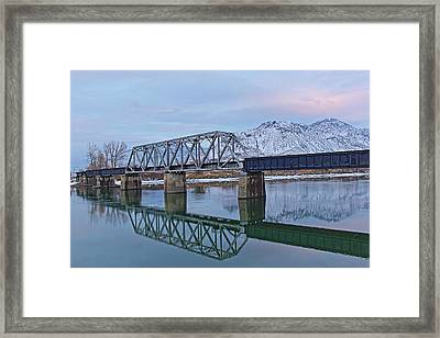 Bridge Over Tranquil Waters In Kamloops British Columbia Framed Print