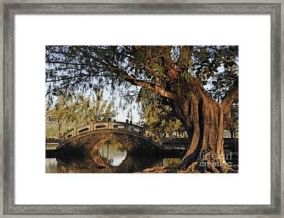 Bridge Over Water At Japanese Garden Framed Print by Sami Sarkis