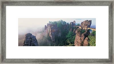 Bridge Passing Through Cliffs, Bastei Framed Print by Panoramic Images