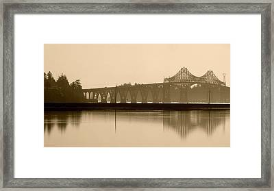 Framed Print featuring the photograph Bridge Reflection In Sepia by Katie Wing Vigil