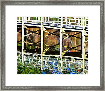 Framed Print featuring the photograph Bridge Reflections by John Harding