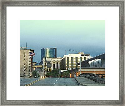 Bridge Street View Of Downtown Grand Rapids Michigan Framed Print