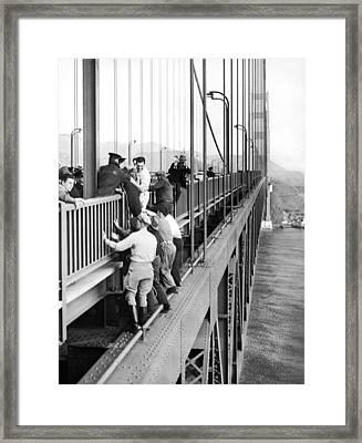Bridge Suicide Attempt Framed Print by Underwood Archives