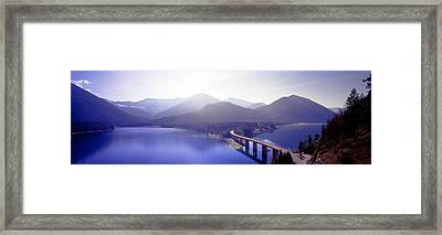 Bridge Sylvenstein Lake Germany Framed Print by Panoramic Images