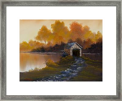 Covered Bridge In Fall Framed Print by C Steele