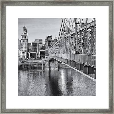 Bridge To Cincinnati Framed Print by Diana Boyd
