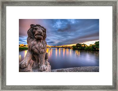 Bridge To Czech Village In Cedar Rapids At Sunset Framed Print