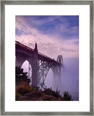 Bridge To Fog Framed Print