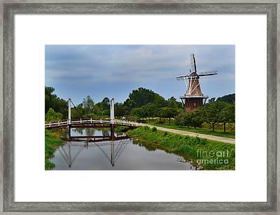 Bridge To Holland Windmill Framed Print