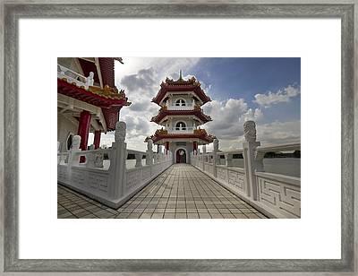 Bridge To Pagoda At Chinese Garden Framed Print by David Gn