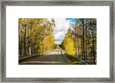 Bridge To Pretty Autumn Day Framed Print