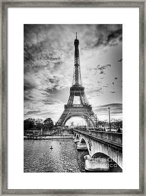 Bridge To The Eiffel Tower Framed Print by John Wadleigh