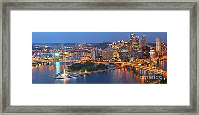 Bridge To The Pittsburgh Skyline Framed Print by Adam Jewell
