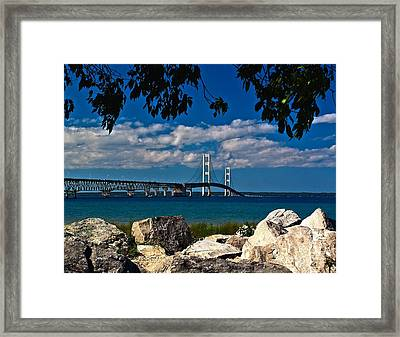 Bridge To The U.p. Framed Print by Nick Zelinsky
