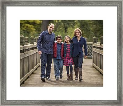 Bridge Walk - Group Hug Framed Print by Lori Grimmett
