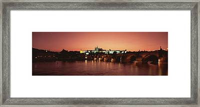 Bridge With A Church And A Castle Framed Print by Panoramic Images