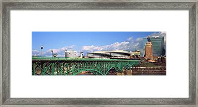 Bridge With Buildings Framed Print