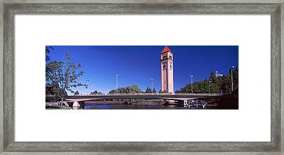 Bridge With Clock Tower Framed Print by Panoramic Images