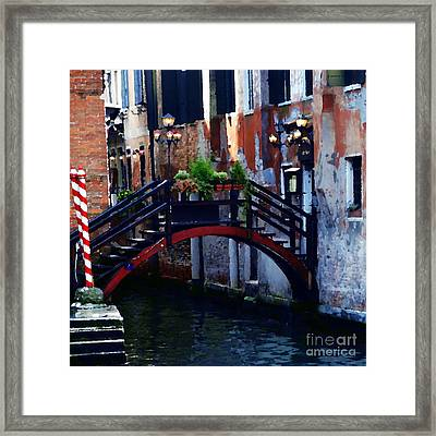 Abstract - Bridge With Flowerbox Framed Print by Jacqueline M Lewis