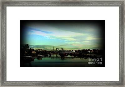 Bridge With White Clouds Vignette Framed Print by Miriam Danar