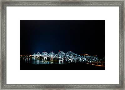 Bridges At Natchez Framed Print by Michael Chapman
