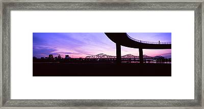 Bridges In A City At Dusk, Louisville Framed Print