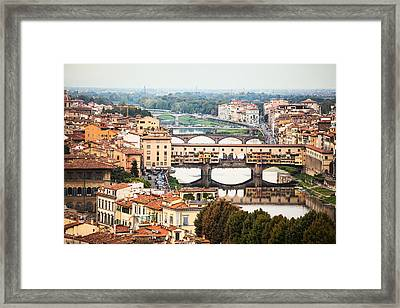 Bridges Of Florence Framed Print by Susan Schmitz