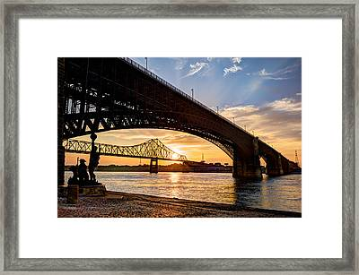 Bridges Over The Mississippi Framed Print