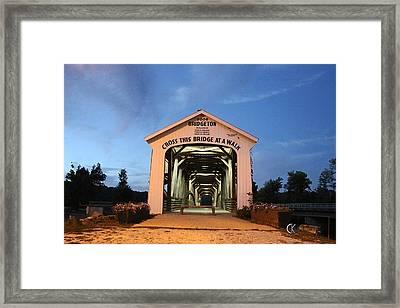 Bridgeton Covered Bridge At Twilight Framed Print by Clayton Kelley