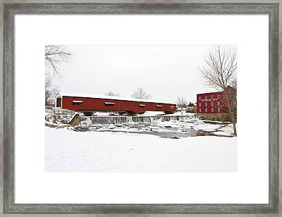 Bridgeton Covered Bridge In Winter Framed Print by Panoramic Images