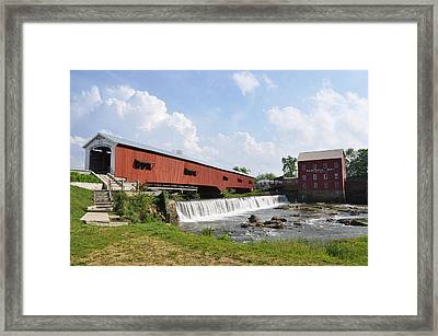 Bridgeton Covered Bridge Framed Print by Pamela Schreckengost