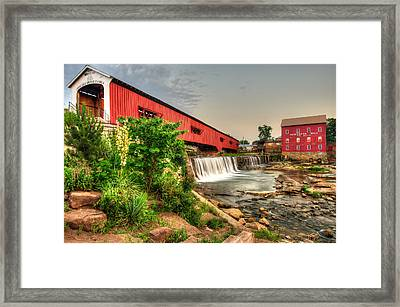 Bridgeton Mill And Covered Bridge Framed Print by Gregory Ballos