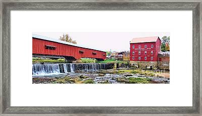 Bridgeton Mill And Covered Bridge Framed Print by Jack Schultz