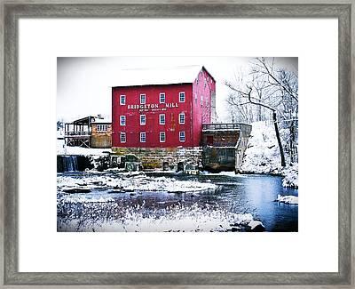 Bridgeton Mill In Winter Framed Print by Virginia Folkman