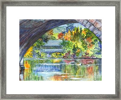 A Covered Bridge In Autumn's Splendor Framed Print by Carol Wisniewski