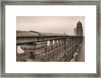 Bridging The Charles Bw Framed Print