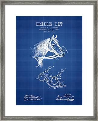 Bridle Bit Patent From 1897 - Blueprint Framed Print