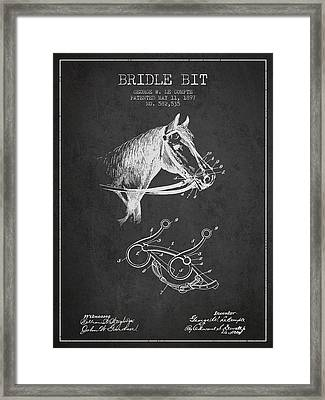 Bridle Bit Patent From 1897 - Charcoal Framed Print